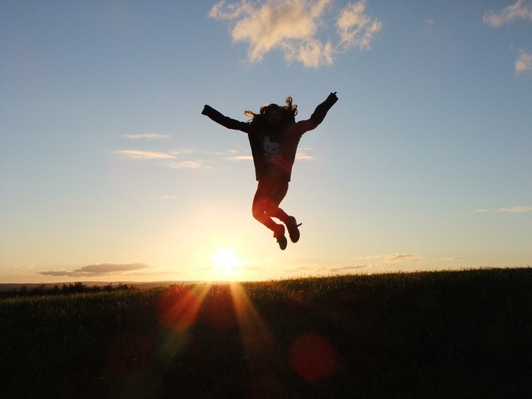 jump, field, sun, sun set, girl, sky